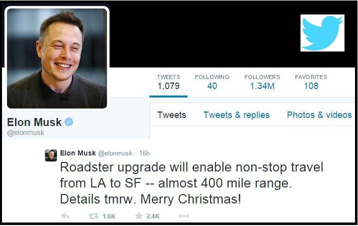 Musk Tweet Roadster