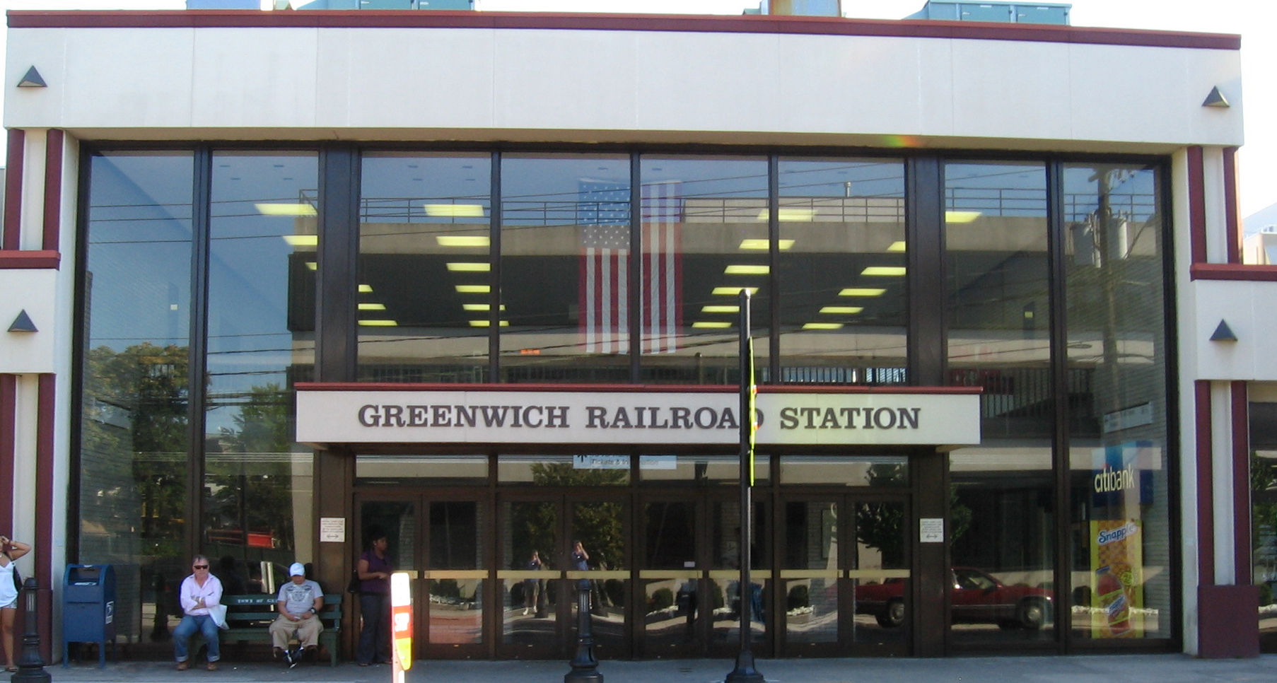 Greenwich Metro-North railroad station, front entrance, in downtown Greenwich, Connecticut
