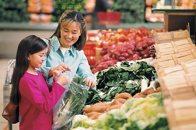 shoppers using a plastic bag