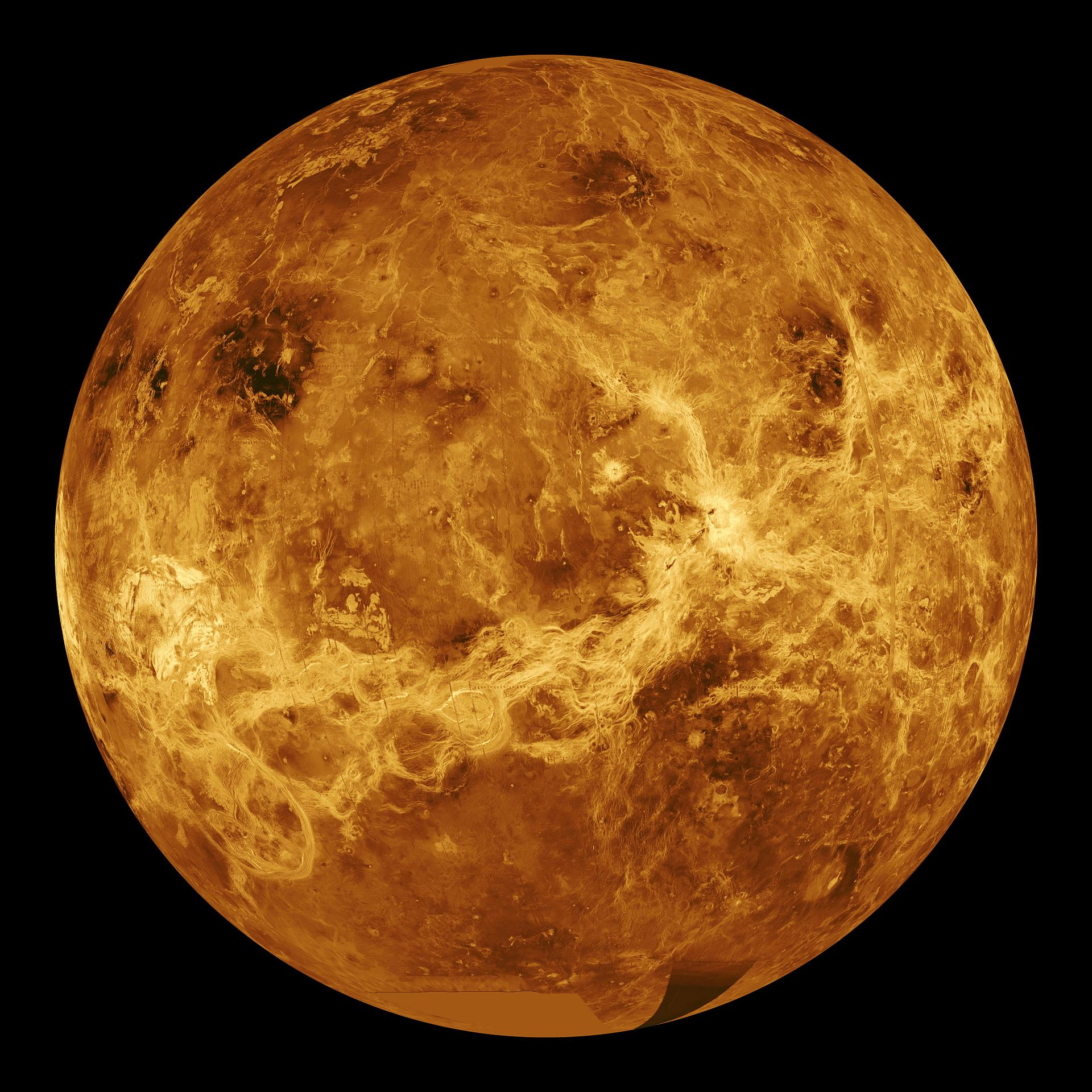 Radar image of the surface of Venus