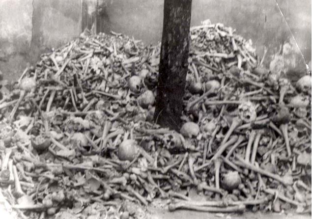 Auschwitz Pile of human bones