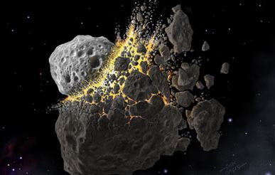 asteroids crashing