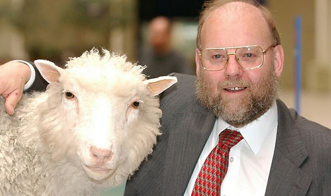 Sir Ian Wilmut with Dolly, the first mammal to be cloned.