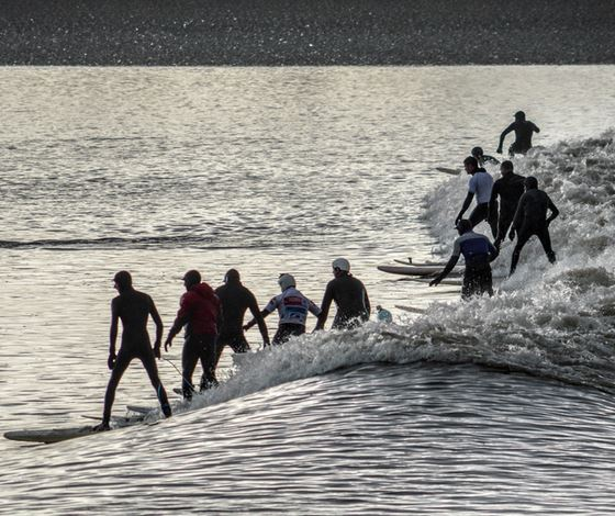 Surfing Severn Bore