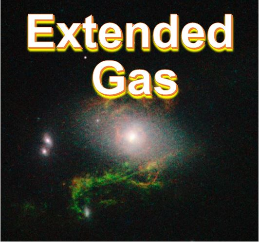 Extended green gas clouds