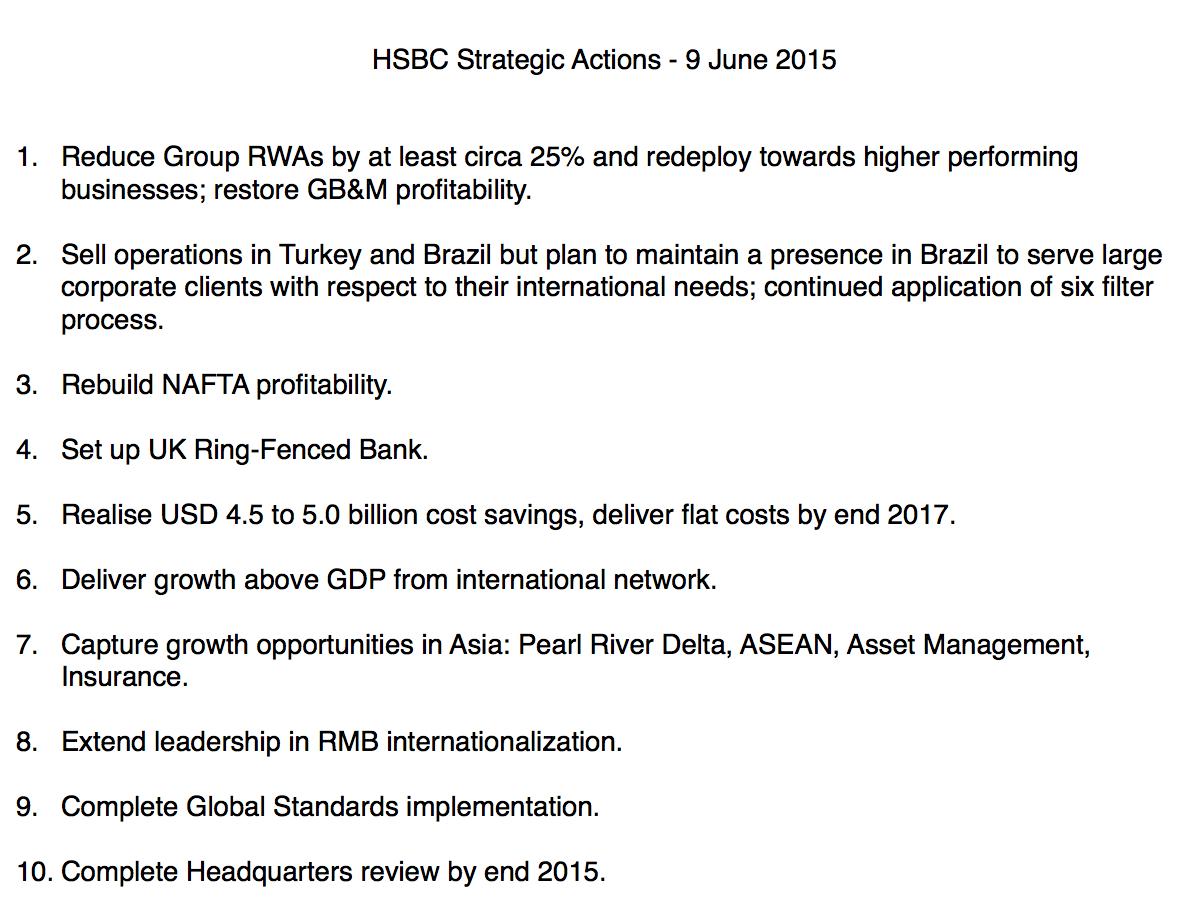 HSBC strategic actions 2015