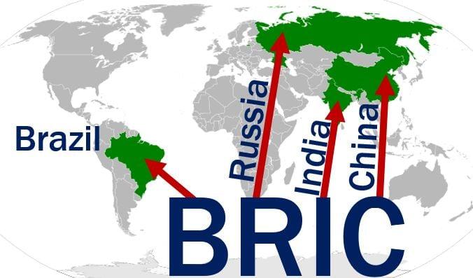 BRIC - Brazil Russia India China map
