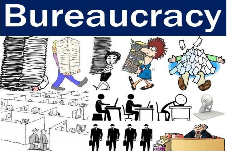 bureucracy A bureaucracy is a hierarchy, meaning there is a person at the top over all of the rest of the organization, department heads are directly under that top person, and sub-departments under each department head, and sub-sub-departments under each sub-department, dividing the workforce up into subordinate layers until you get to the bottom, with.