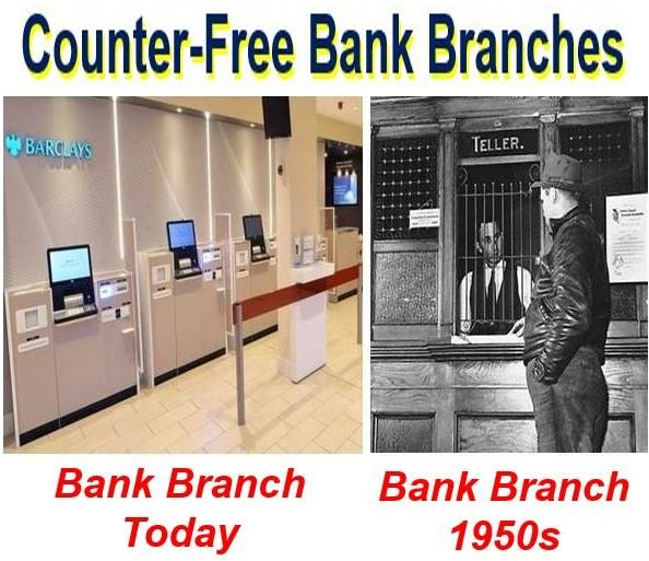 Bank branch today with no counter and in 1950s