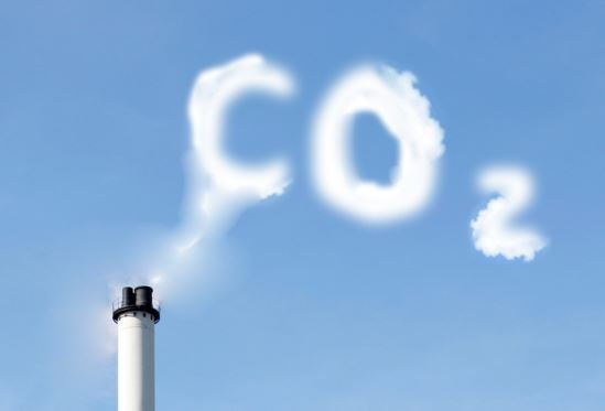Carbon dioxide emitted from fossil fuel burning