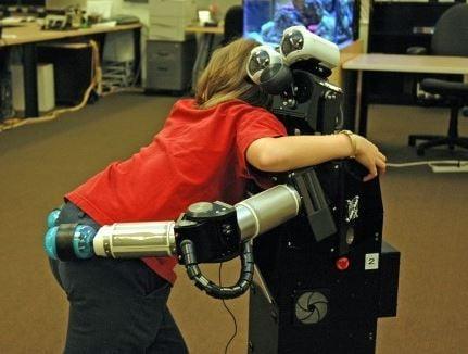 Child hugging robot