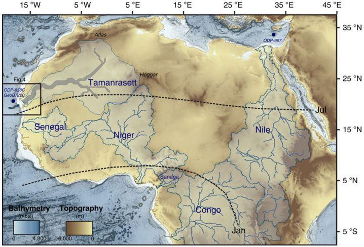 Sahara desert river in the past