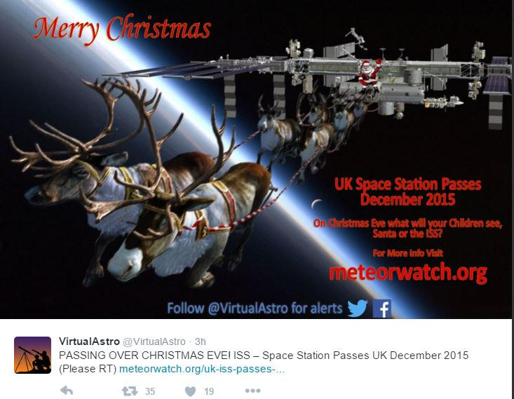 Santa and Rudolph sleigh is ISS on Christmas Eve in UK sky
