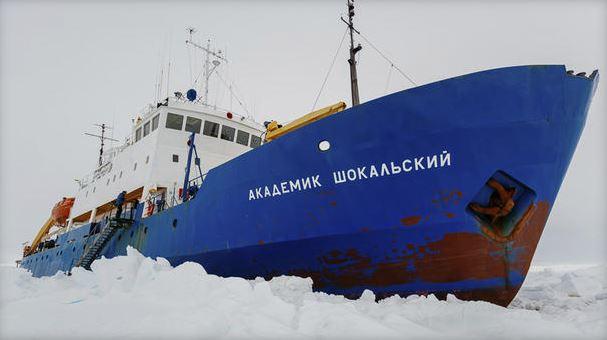 Ship stuck in ice