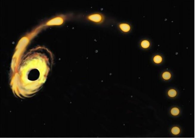 Supermassive black hole pulling in a star