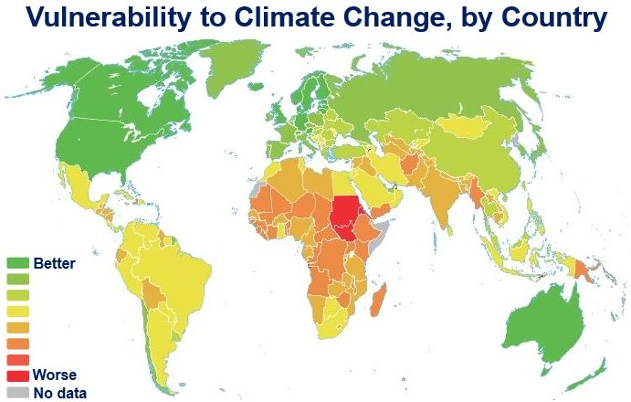 Vulnerability to climate change by country