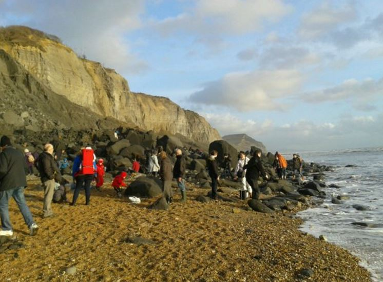 Charmouth cliff with fossil hunters