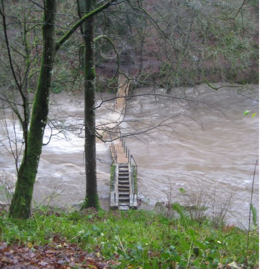 Floods destroy footbridge