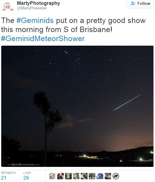 Geminid Meteor Shower Australia