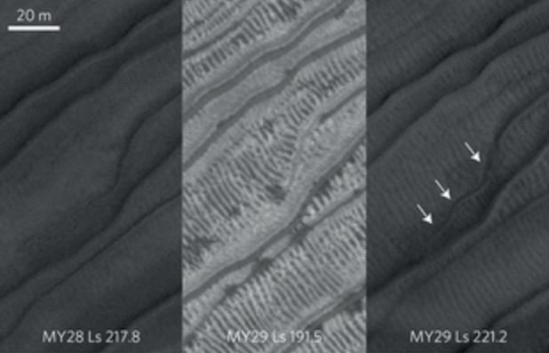 Mars gullies likely caused by trapped gas