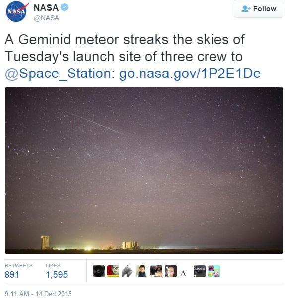 NASA Geminid meteor shower