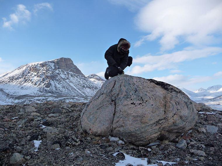 Sampling a rock