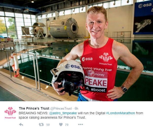 Tim Peake running marathon in space