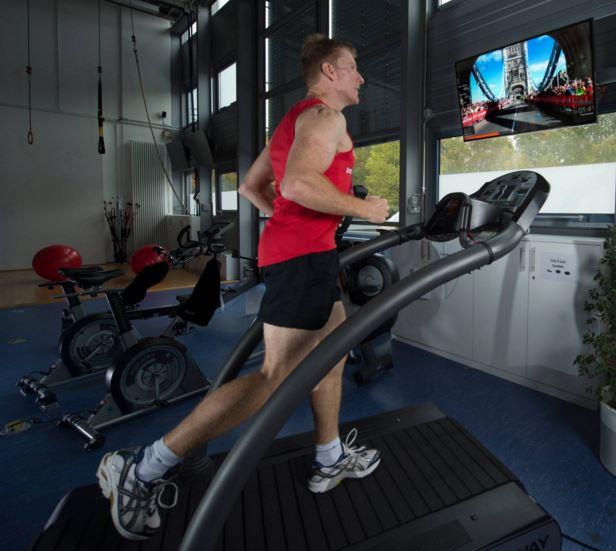Tim Peake training on treadmill