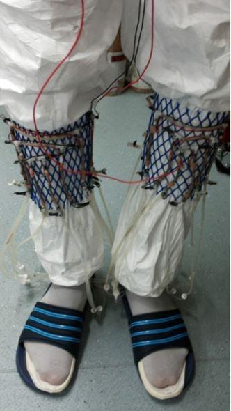 Urine socks system on wearer