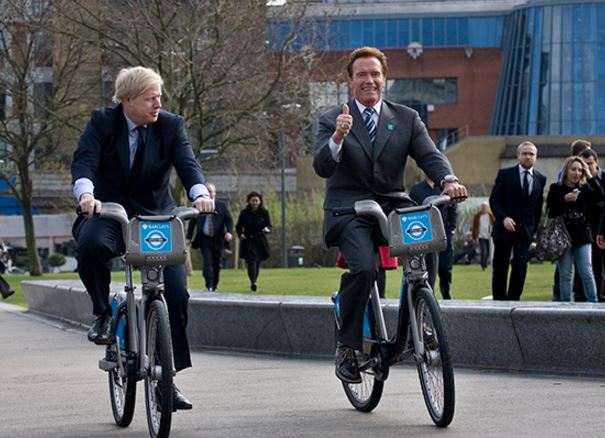 Boris Johnson and Arnold Schwarzenegger cycling in London