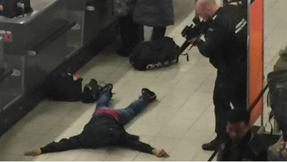 British man who shouted BOMB at Schiphol airport lying on ground