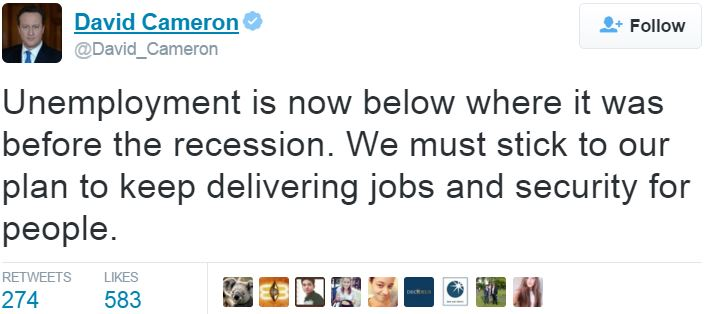 David Cameron on unemployment rate Twitter