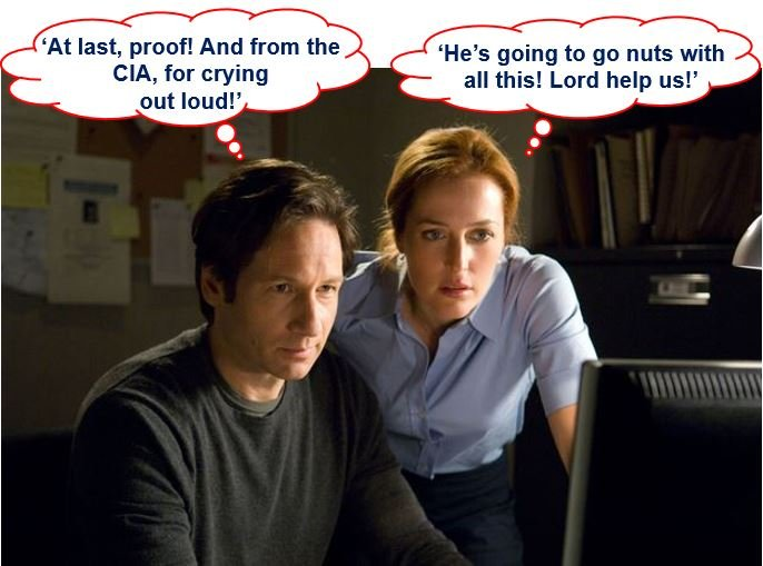 Fox Mulder and Dana Scully looking at released documents on UFO sightings