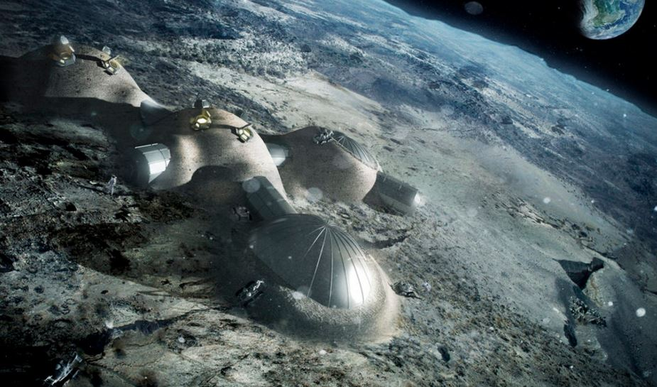 Moon base being build for humans to live in