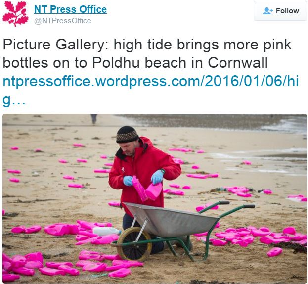 NT Trust press office on pink bottles appearing on beach