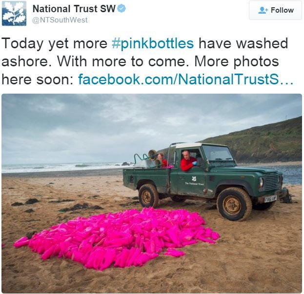 National Trust SW photo more bright pink bottles on beach