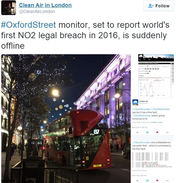 Oxford Street Air Pollution Monitor stops working