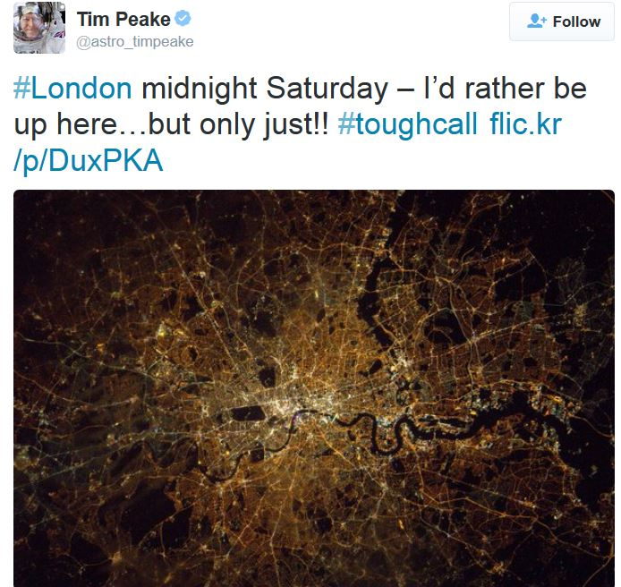 Photo of London captured by Tim Peake