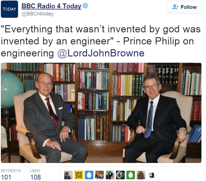 Prince Philip sees engineers solving problems in future