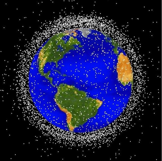 Space junk orbiting the Earth