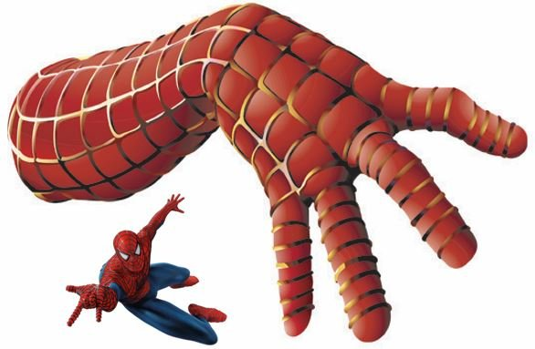 Spiderman and large hand
