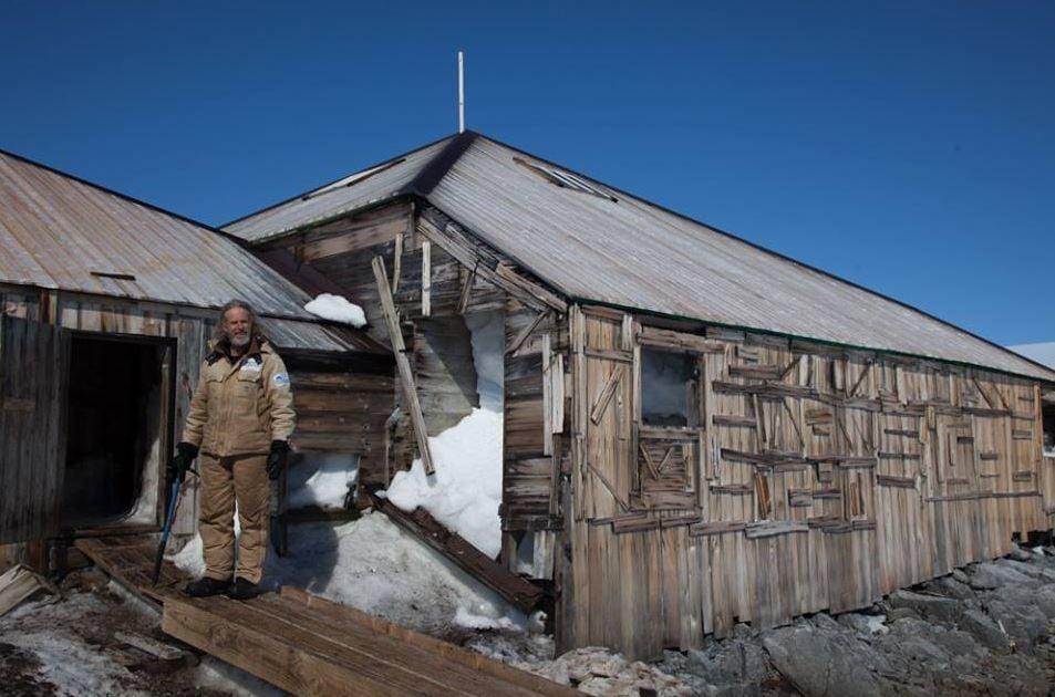 Standing outside Mawsons Hut