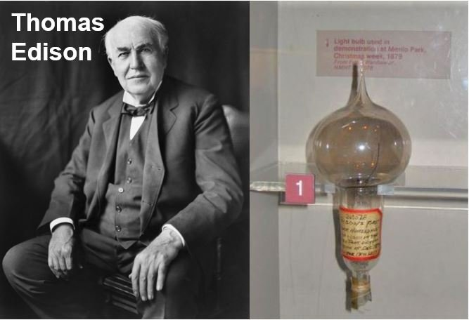 Thomas Edison and the first commercially available lightbulb