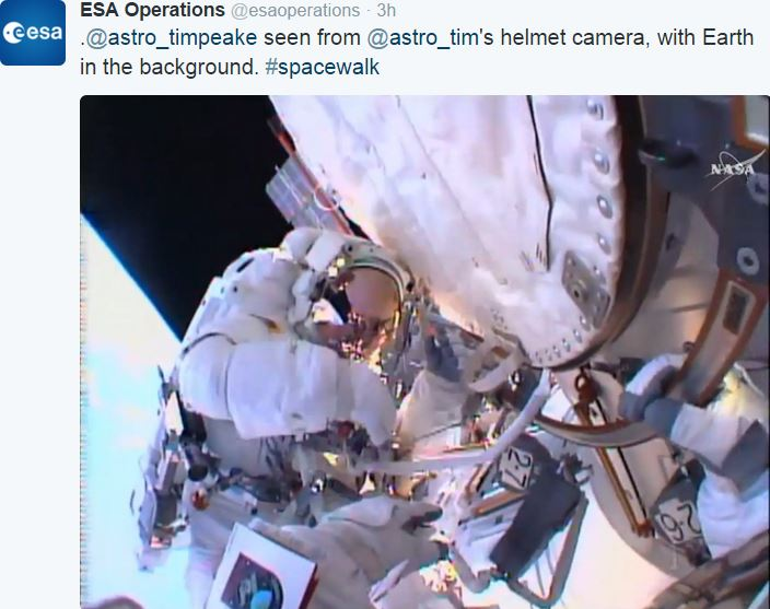 Tim Peake during spacewalk image taken from Kopra helmet