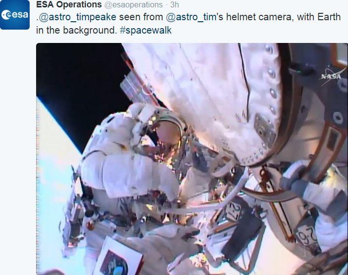 Tim Peake during spacewalk image taken from Kopra helmet