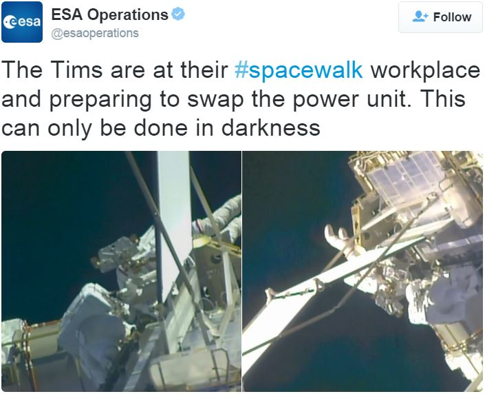 Tim Peake spacewalk earlier today