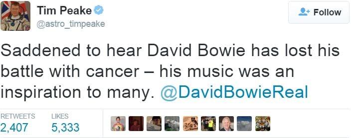 Tim Peake tribute to David Bowie