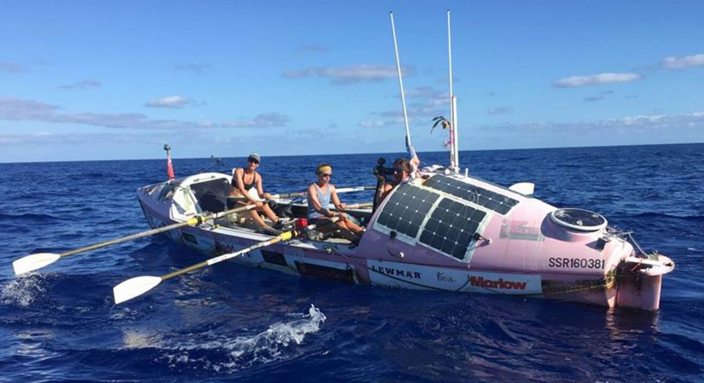 Two Coxless Crew members rowing in the Pacific Ocean