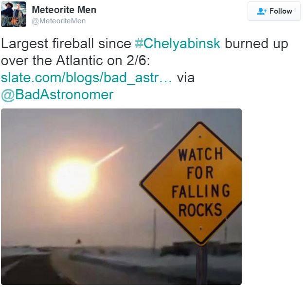 Asteroid over Atlantic February 2016