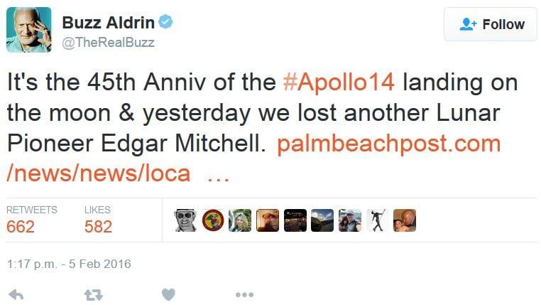 Buzz Aldrin pays respect to Edgar Mitchell